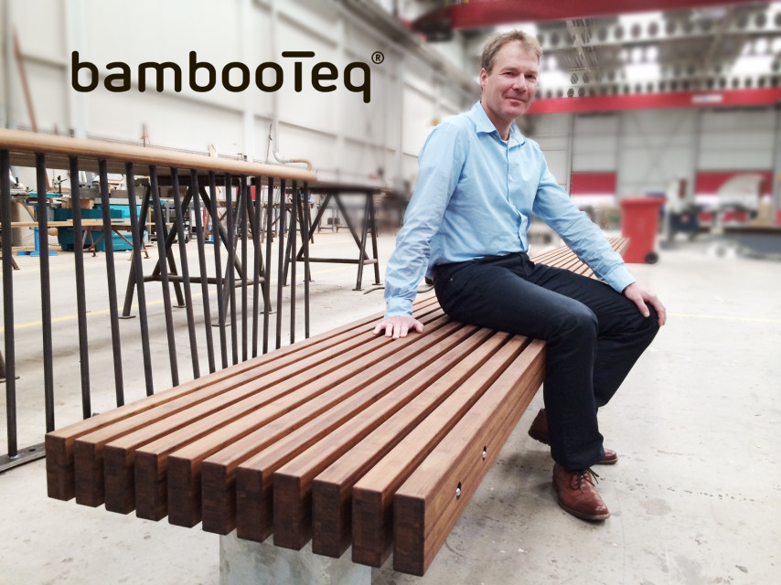 Design bank van bamboe voor De Keukenhof uit Lisse.