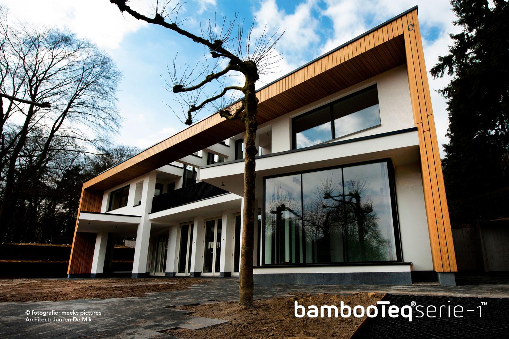Bamboe gevel voor villa Arnhem
