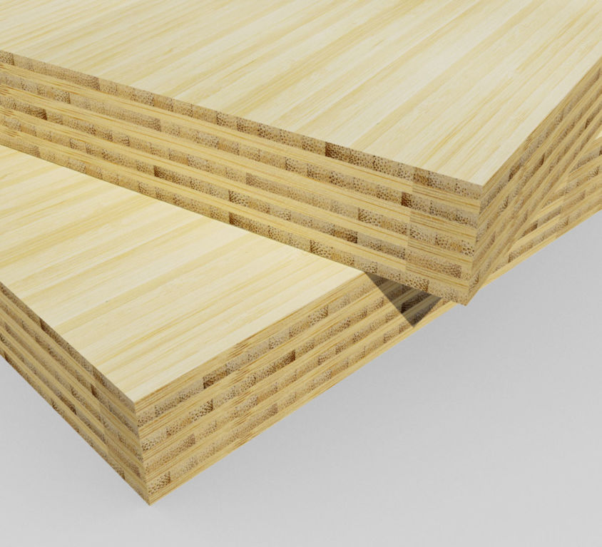 Bamboe plaat 40 mm side-pressed 9 laags naturel 400 x 62 cm